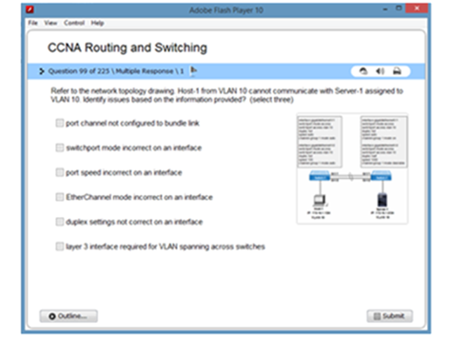 CCNA v3 Practice Test Simulator Screen shot